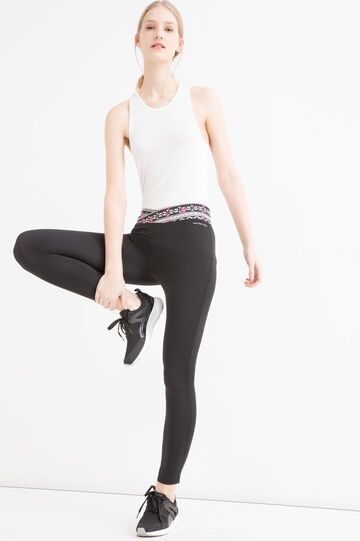 Printed stretch gym leggings, Black, hi-res