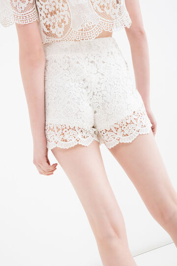 Lace shorts with high waist band., White, hi-res