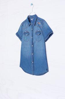 Camicia di jeans con ricami, Blu, hi-res