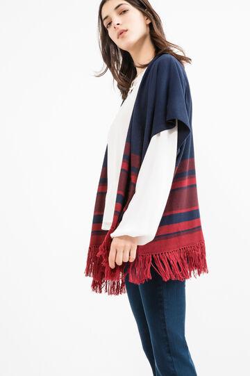 Cardigan with striped fringe, Blue, hi-res