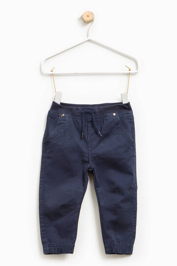 Trousers with ribbing and drawstring, Navy Blue, hi-res