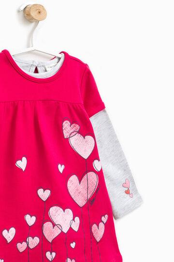 T-shirt and dress set with short sleeves, Grey/Pink, hi-res