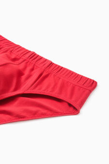 Three-pack solid colour stretch briefs, Grey/Red, hi-res