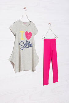 Cotton T-shirt and leggings outfit., Grey/Pink, hi-res
