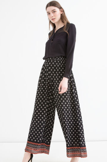 Wide leg trousers in 100% viscose, Black, hi-res
