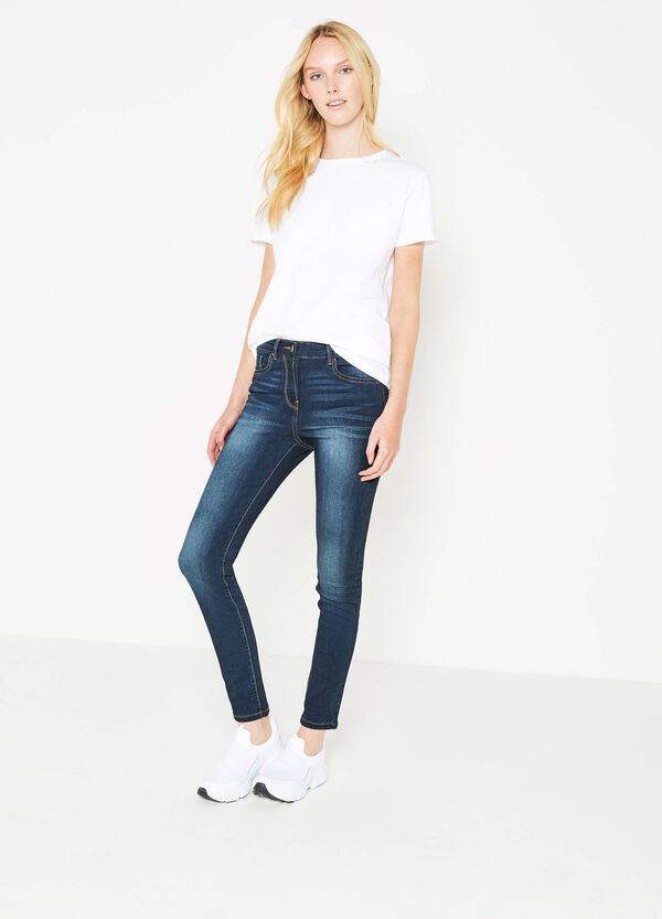 Worn-effect stretch push-up jeans | OVS