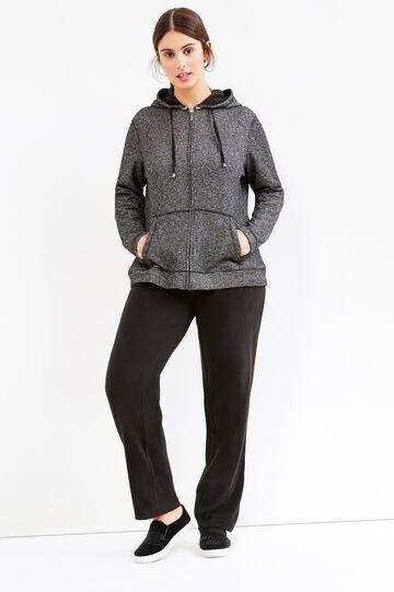 Curvy fleece joggers, Black, hi-res