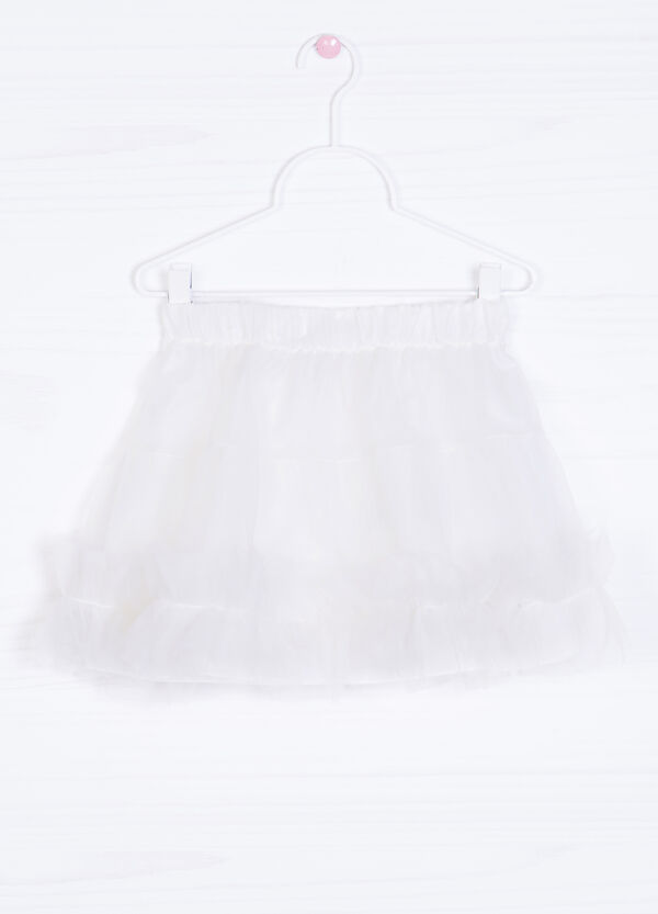 Solid colour skirt with tulle | OVS