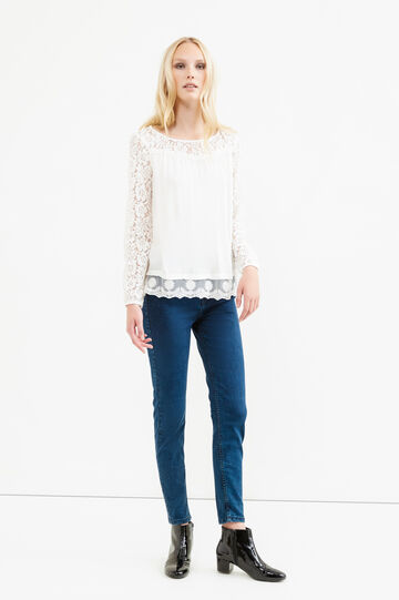100% viscose blouse with lace, Milky White, hi-res