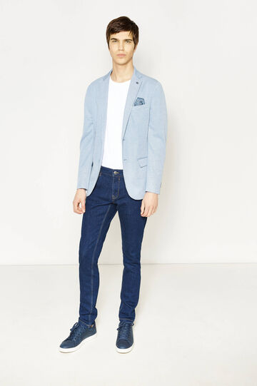 Two-button jacket with floral pocket handkerchief, Soft Blue, hi-res