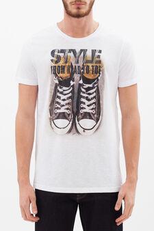 T-shirt puro cotone stampata, Bianco, hi-res