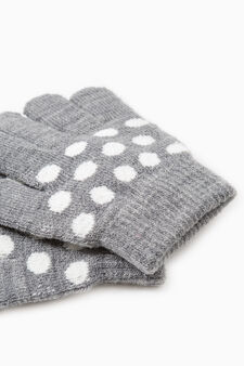 Solid colour gloves with embroidery, Light Grey, hi-res