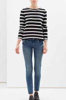 Striped pullover, White/Cornflower Blue, hi-res