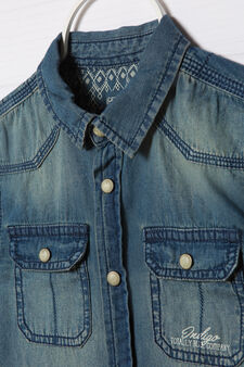 Camicia di jeans delavé, Blu denim, hi-res