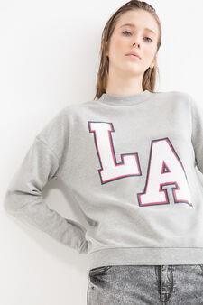 Cotton blend printed sweatshirt, Grey, hi-res