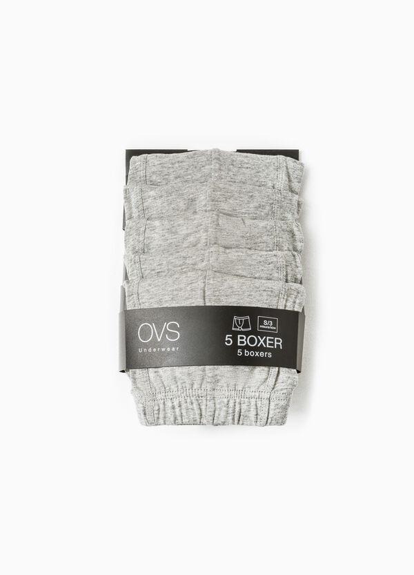 Five-pack solid colour cotton boxer shorts | OVS