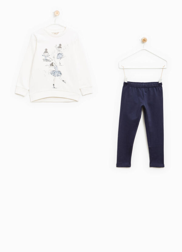 100% cotton tracksuit with print and glitter | OVS