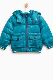 Down jacket with hood and pockets, Teal Green, hi-res
