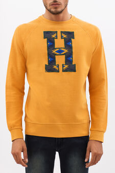 G&H sweatshirt with ethnic pattern print, Ochre Yellow, hi-res