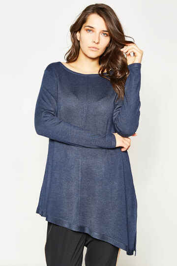 Curvy pullover with asymmetric hem, Navy Blue, hi-res