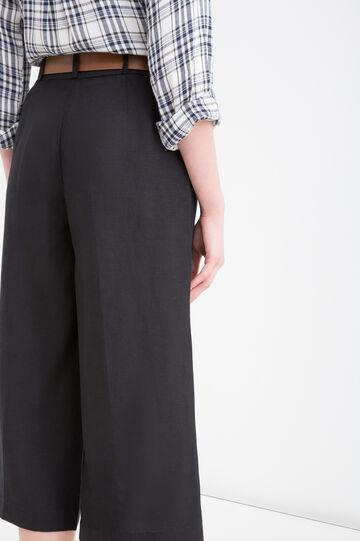 Linen blend wide palazzo pants, Black, hi-res