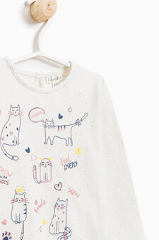 Long-sleeved T-shirt with kitten print, Beige, hi-res