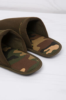Slippers with camouflage lining, Army Green, hi-res