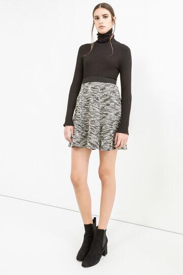 Short full skirt in mélange cotton, Black/White, hi-res