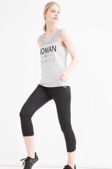 V-neck 100% cotton gym top, Grey Marl, hi-res