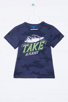 T-shirt puro cotone camouflage, Blu navy, hi-res