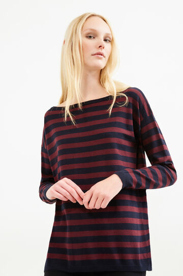 Striped pullover with buttons on back, Aubergine, hi-res