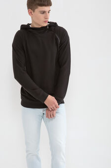 Cotton blend hoodie., Black, hi-res