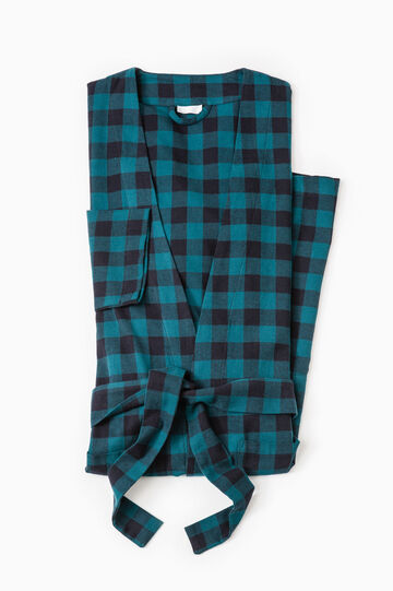 100% cotton check dressing gown, Black/Green, hi-res