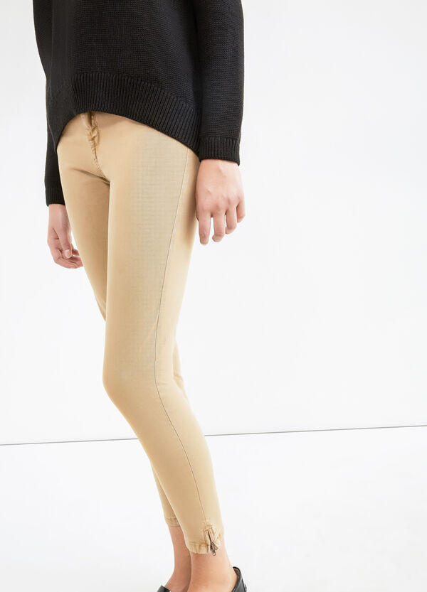 Solid colour stretch cotton trousers   OVS