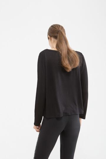Sports T-shirt in stretch viscose, Black, hi-res
