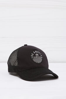 Baseball cap with patches, Black, hi-res