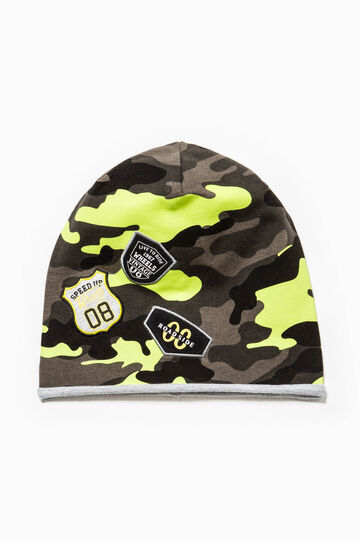 Camouflage beanie cap with patches, Green/Grey, hi-res