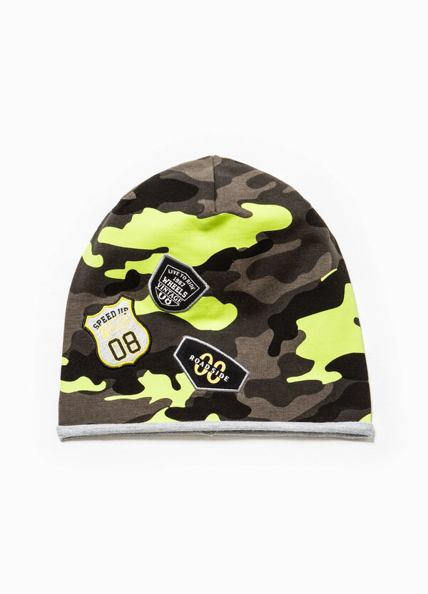 Camouflage beanie cap with patches | OVS