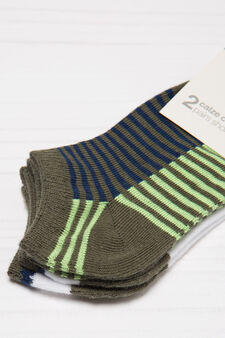 Two-pair pack cotton blend socks, Green, hi-res