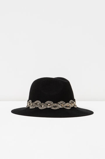 Cappello falda larga perline e strass, Nero, hi-res