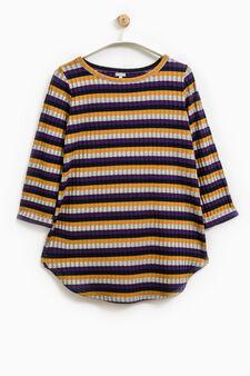 Smart Basic striped ribbed T-shirt, Grey, hi-res