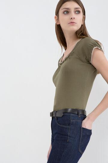 100% cotton T-shirt with gathered neck, Khaki, hi-res