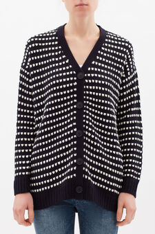 Long knitted cardigan, Navy Blue, hi-res