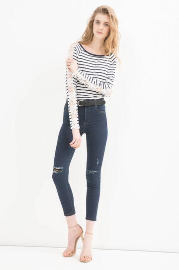 T-shirt viscosa stretch con pizzo, Bianco/Blu, hi-res