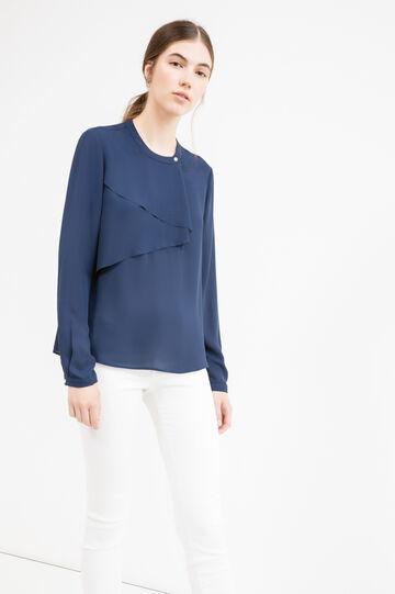 Solid colour blouse with flounces, Blue, hi-res