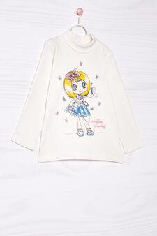 T-shirt puro cotone collo alto, Bianco panna, hi-res