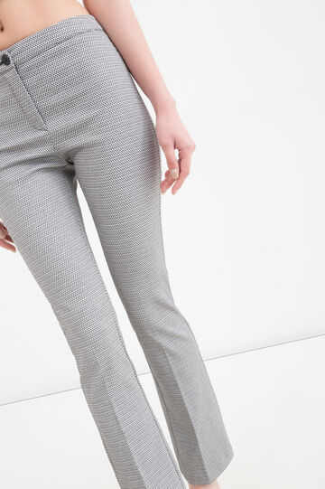 Checked stretch trousers, Black/White, hi-res