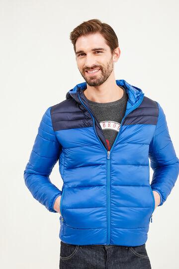 Plumífero con capucha y cuello alto, Azul azulete, hi-res