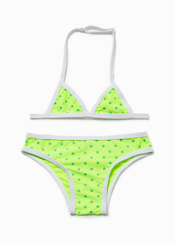 Polka dot patterned bikini with triangle top and briefs | OVS