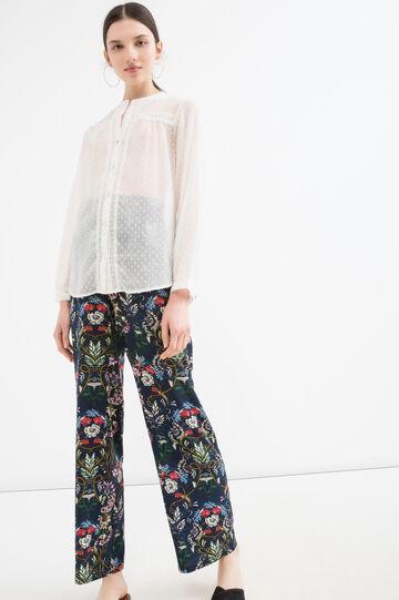 Pantaloni pura viscosa con stampa, Blu, hi-res